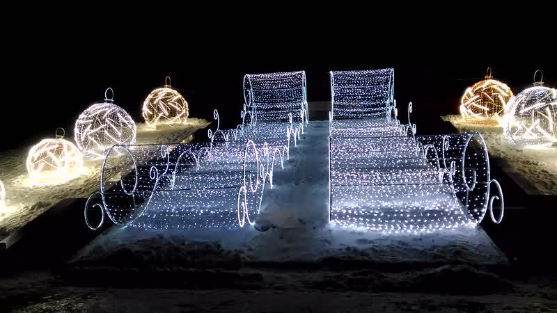 Иллюминация на холме у памятника М.Вахитову (зима 2019/2020)