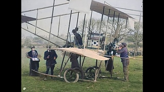[4k, 60 fps, colorized] (1910) London to Manchester air race. First night flight ever.