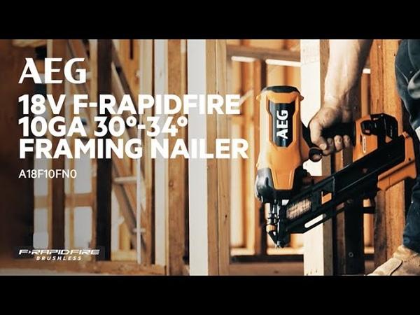 AEG 18V F RAPIDFIRE 10Ga 30º 34º Framing Nailer A18F10NNZ0 in action