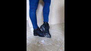 Boots crushing yoghurt
