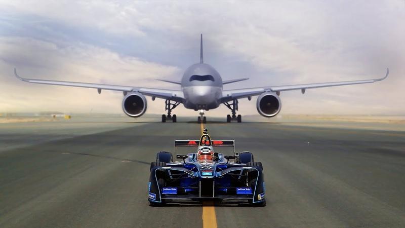 ABB FIA Formula E race car vs Qatar Airways' Airbus A350 and Boeing 787 Dreamliner Who will win
