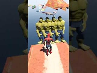 SPIDERMAN VS HULK  (Euphoria Physics)  GTA 5 Water Ragdolls Jumps/Fails   #shorts