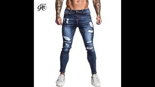 Gingtto мужские обтягивающие стрейчевые отремонтированные джинсы темно синего цвета в стиле хип хоп, супероблегающие хлопковые