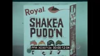 1960s ROYAL SHAKE-A PUDD'N  CHILDREN'S DESSERT SNACK FOOD  TV COMMERCIAL   XD30712e