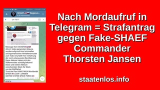 Nach Mordaufruf in Telegram! Strafantrag gegen Fake-SHAEF-Commander Thorsten Jansen ⚠️