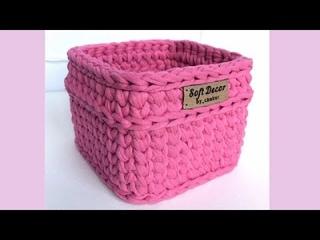 Кто не умеет вязать квадратную корзину крючком? 😉 Смотрим этот ролик)    Soft Decor