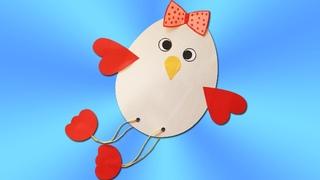 Цыпленок. Поделка на Пасху цыпленок из бумаги.  Paper Chick for Easter decoration