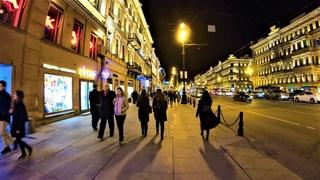 Saint Petersburg - Walking nigt Nevskiy prospekt street - Russia / Санкт-Петербург 4К