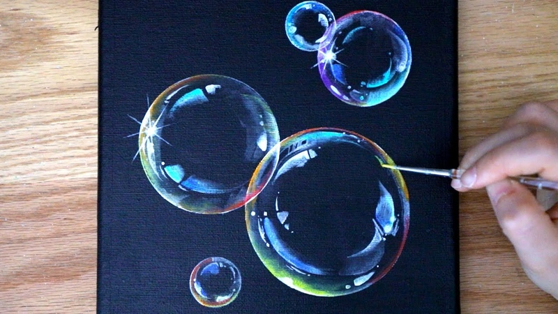 How To Paint Bubbles Black Canvas Painting Acrylic painting for beginners 132