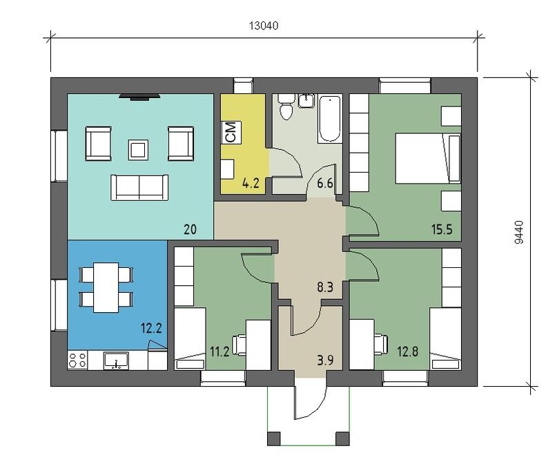 Одноэтажный дом 95м2 с тремя спальнями. Цена: 4,2 млн тел: +79092079911