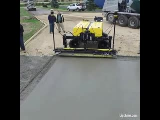 This machine smoothes out concrete in no time.