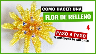Como Hacer Tembleques de Colores - Flor Relleno 4 - Margarita