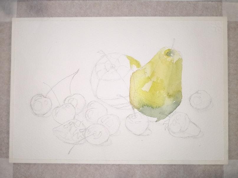 ОНЛАЙН-УРОК по рисованию «Клубника и черешня», изображение №6