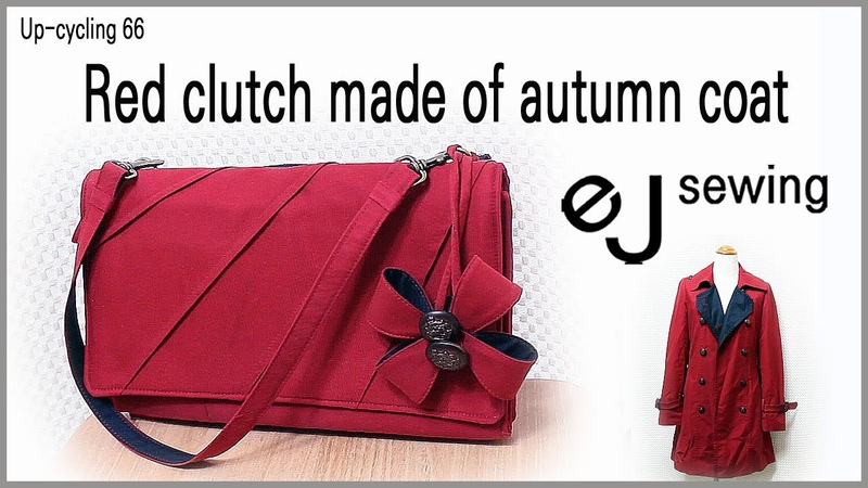 Up cycling - 66/up cycle /Red clutch made of autumn coat/코트로 만든 레드 클러치