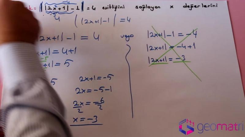 Mutlak Değer 2 ► Mutlak Değerli Denklemler I Konu Anlatımı ve Soru Çözümleri