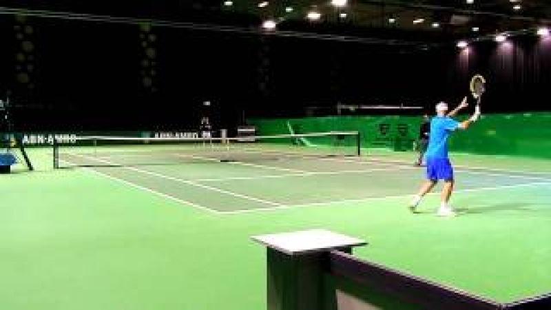 Ivan Ljubicic practices with doublespartner Richard Gasquet.