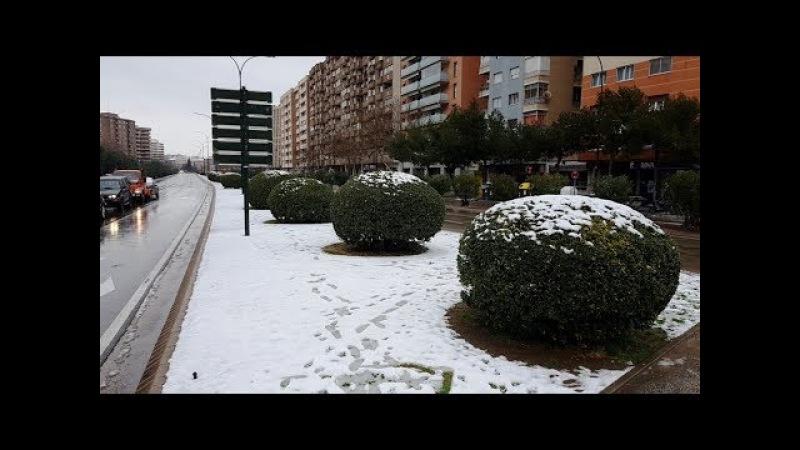 Nieve en Zaragoza, después de muchos años hasta quedar una Capa blanca como de 5 pulgadas de hielo
