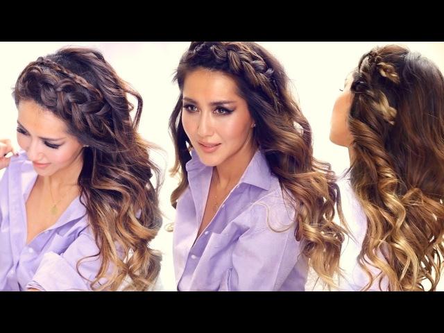 ★ 3 Easy HEADBAND BRAID Hairstyles HSI Curls   Short Medium Long Hair Tutorial