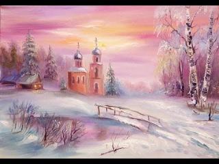 Рисуем церков в снегу. Дорога к храму
