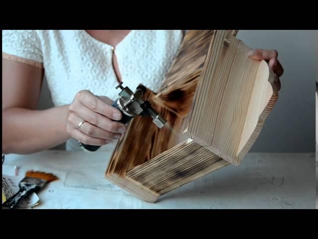 Biruza МК Ключница Лавандовое настроение Обжиг и браширование древесины