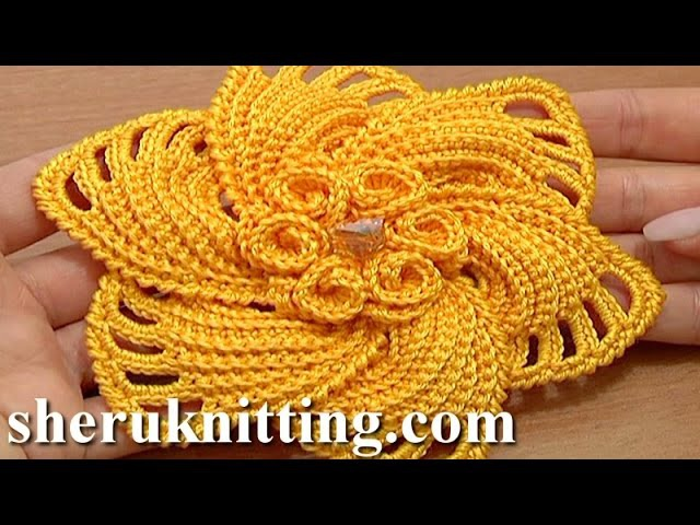 Crochet 6 Petal Flower Spirals In Center Tutorial 59 Part 1 of 2 Gehaakte bloem