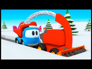 Leo the truck. Snow plow. Cartoons for kids with #leothetruck. Car cartoon.