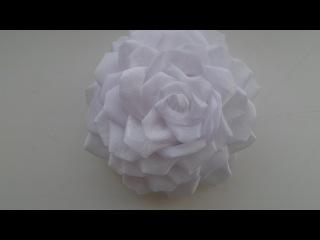пышная роза из органзы