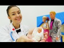 Барби РОДИЛА Кен встречает Барби из роддома! Осмотр малышки у доктора. Видео дл