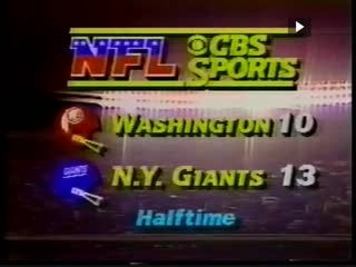 Washington Redskins vs New York Giants 1981 2nd Half Week 11