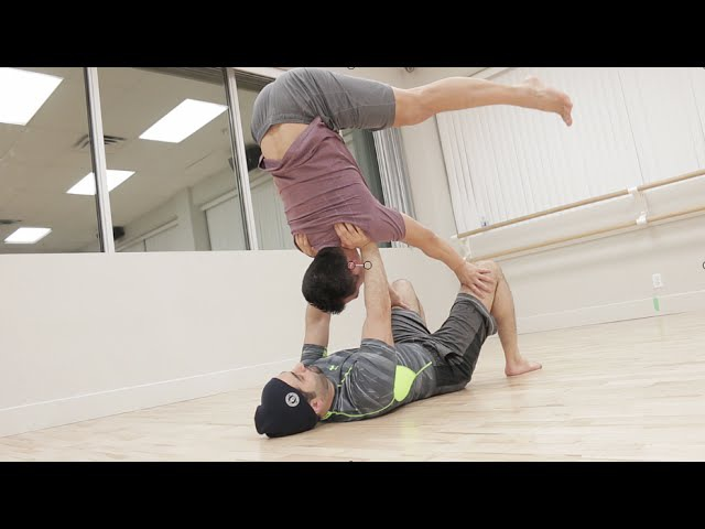 Beginner Acro Yoga Supported and Free Shoulderstand