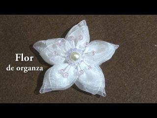 #Flor de organza con botón y cristalitos# Organza flower with button and crystallites