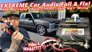 Extreme Car Audio FAIL & Fix - Bucket o' BASS Chevy - Battery, Power Cable, & Door Panels Video 4