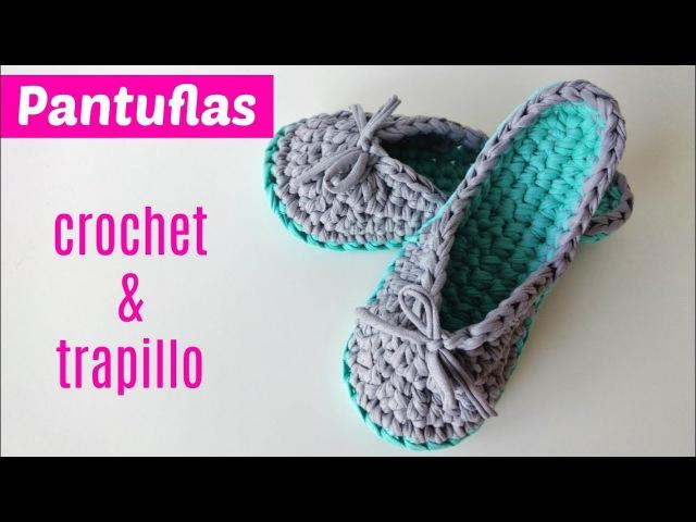Pantuflas de trapillo a crochet paso a paso