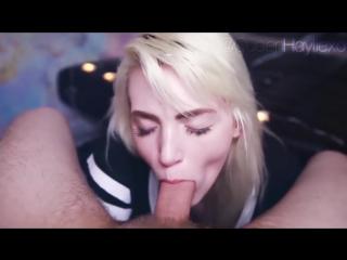 Cute blonde blowjob (porn, bj, pale, skinny, slim, girl, suck dick, beautiful, close up, порно, минет, сосет член, блондинка, ми