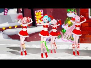 [MMD 4K Karaoke] 17183E TDA Santa Haku Miku Luka Teto Suki! Yuki! Maji Magic Karaoke [DL][RAY ]