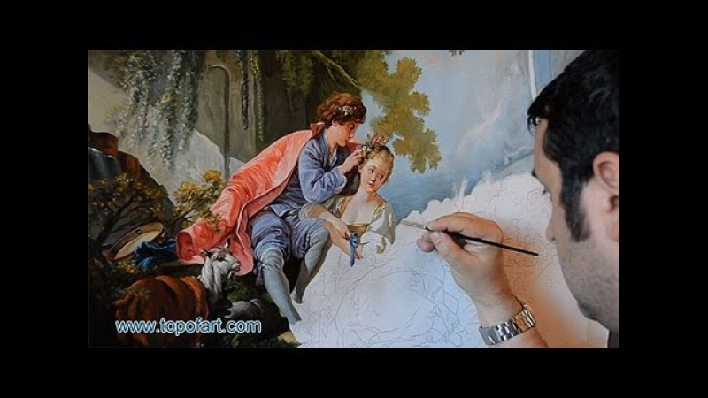 Art Reproduction (Boucher - The Four Seasons Spring) Hand-Painted Step by Step