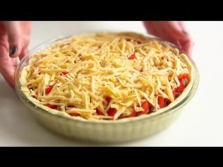 Открытый Мясной пирог на картофельном тесте Простой рецепт