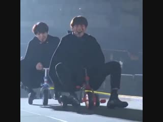 Remember when yoongi and taehyung was having a race with their lil tricycle and yoongi won