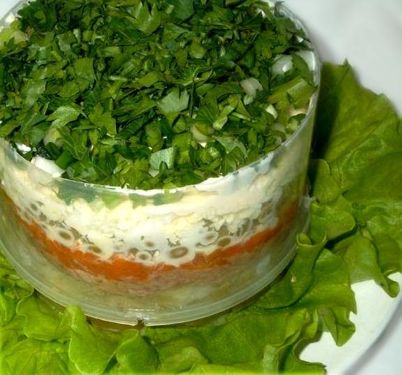 Салат слоями с печенью трески, изображение №8