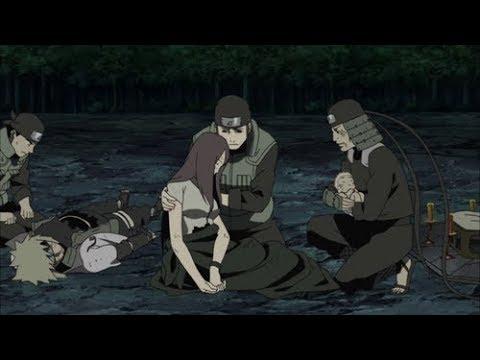 Kushina le dice a Hiruzen que cuide de Naruto Muerte de Kushina y Minato Funeral del 4to Hokage