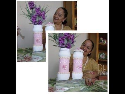 Potinho de Vidro decorado para a Mamãe