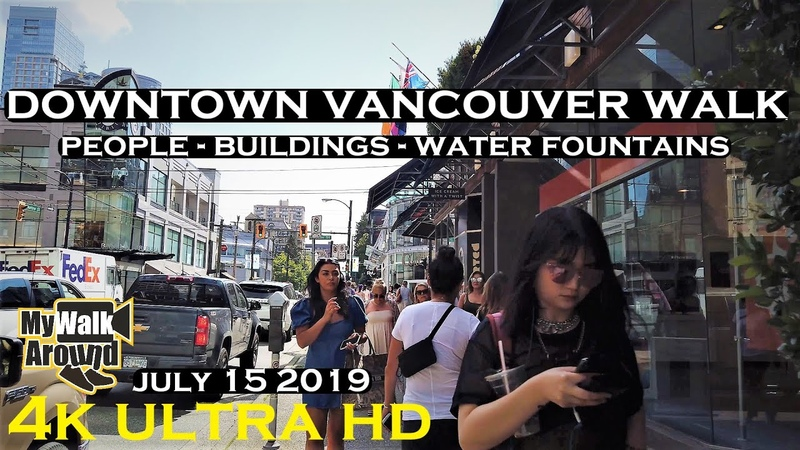 Exploring downtown Vancouver's bustling streets- Highrises, people, waterfountains more (4k video)