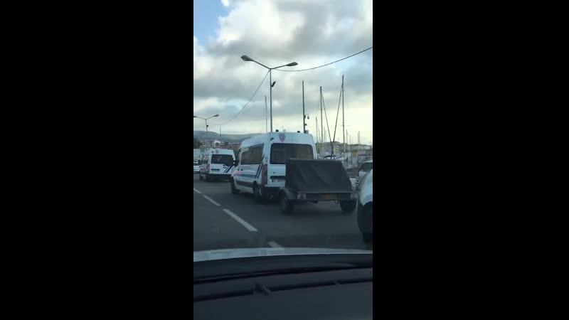 Arrivée des escadrons de CRS en renfort à Ajaccio ce matin pour la venu de Macron en Corse