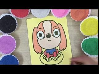 Con cò bé bé !!! Tô màu tranh cát con chó con dễ thương vô đối - Comored sand painting dog