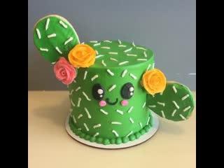 """Как декорировать торт в виде Кактуса. / Наша группа в ВК: """"Торты на заказ. Мировые шедевры""""."""