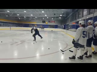 Yes, thats ryan oreilly, after he already practiced, on the ice mentoringteaching prospects proper way to do drills.