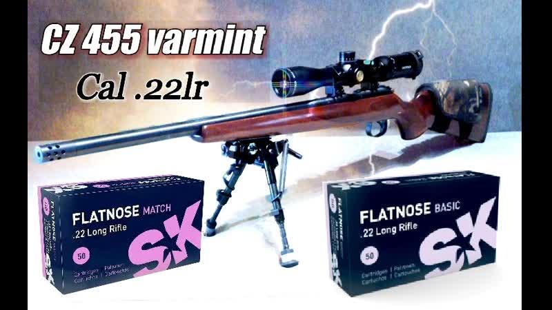 Патроны .22lr Flatnose match Flatnose basic на 100 м. из CZ 455 varmint