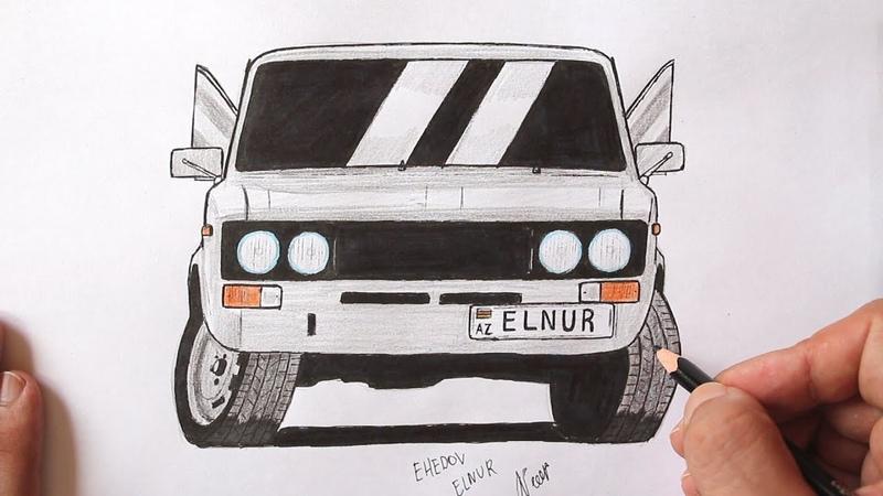 ♛ Как нарисовать машину ВАЗ 2106 поэтапно ❤ VAZ 2106 masini nece cekilir