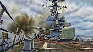 U.S. Navy Destroyer Fires Its Weapons