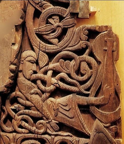 Смерть Рагнара Лодброка. Фрагмент резьбы 1200 года